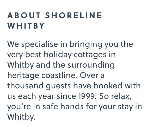 Shoreline Whitby website snippet copywritten by Hey Marketing of Huddersfield